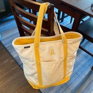 Lands' End monogramed zip top tote bag - size L